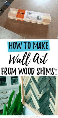 DIY Wall Art – Cheap and Easy Wall Art Using Wood Shims Art mural bricolage – Art … Diy Wood Wall, Reclaimed Wood Wall Art, Wooden Wall Art, Diy Wall Art, Diy Wall Decor, Repurposed Wood, Wall Decorations, Wood Walls, Salvaged Wood