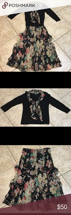 Ralph Lauren 3 piece ensemble Beautiful floral multi-color skirt & light-weight black sweater top with matching scarf. 4th pic close up of skirt ruffles. Very good condition. Skirt 100% silk. Sweater 100% cotton. Ralph Lauren Other