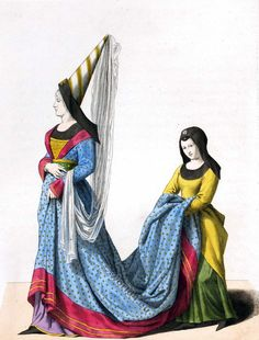 Middle Ages costumes and fashion. Period between 700 to century. Style of Byzantine, Carolingian, Romanesque, Gothic and Renaissance. Renaissance Costume, Medieval Costume, Medieval Clothing, Historical Clothing, Costume Français, 14th Century, Woman Painting, Fashion Books, Costumes For Women