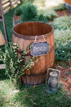 Chalk board signs are another great way ...and a pretty way ... to show your guests where to recycle.