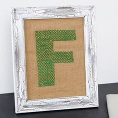 Framed Cross-stitched Initial on Burlap