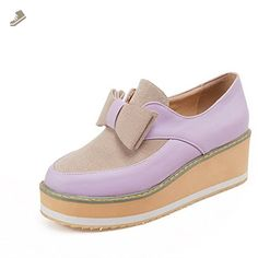 VogueZone009 Women's Assorted Color Pu Kitten Heels Round Closed Toe Pull On Pumps-Shoes, Purple, 40 - Voguezone009 pumps for women (*Amazon Partner-Link)