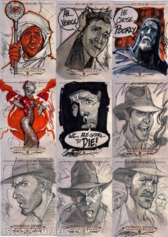 Indiana Jones sketch cards by J. Scott Campbell