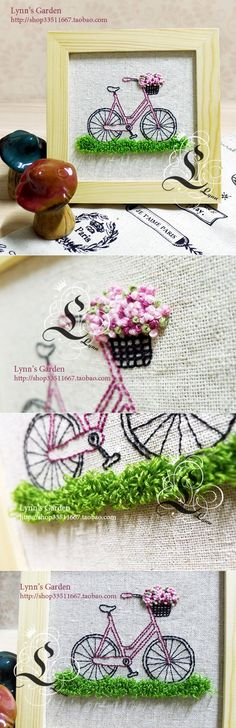 Bicycle Embroidery...such a pretty piece of embroidery..I love the basket of flowers on the bicycle!