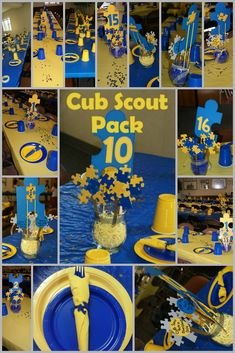 Blue and Gold Puzzle Piece Themed Party for Cub Scout Pack 10.