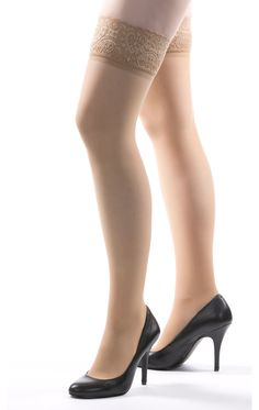 93a4cf7868 Allegro Premium Italian Sheer Thigh Highs in Nude - The unique 3-D knit  produces. BrightLife Direct