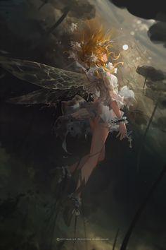 Digital art cartoon anime girls 44 ideas for 2019 Art Anime Fille, Anime Art Girl, Manga Art, Anime Girls, Fantasy Kunst, Fantasy Art, Fanarts Anime, Anime Scenery, Fairy Art