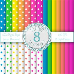 INSTANT DIGITAL DOWNLOAD - 12X12 Neon Polka Dot and Solid Color Variety Pack - 21 Sheets - One-of-a-kind Design by Studio 8 Supplies by studio8supplies on Etsy