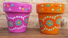 A'cha Pots. Macetas pintadas a mano. Facebook: A'cha Pots.