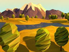 Cool low-poly illustration with texture.