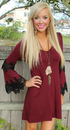Burgandy Elegant Crochet Flare Sleeve Dress - The Lace Cactus