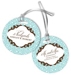 Aqua Greek Luggage Tags