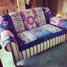 Georgia Bohemian Chic Sofa by Folk Project www.folk-project.com Funky Furniture, Furniture Styles, Upcycled Furniture, Gypsy Home Decor, Bohemian Decor, Patchwork Chair, Cool Chairs, Upholstered Chairs, Soft Furnishings