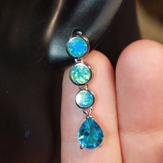 fire opal topaz earrings gemstone silver jewelry elegant cocktail stud drop B1 #Unbranded #Stud