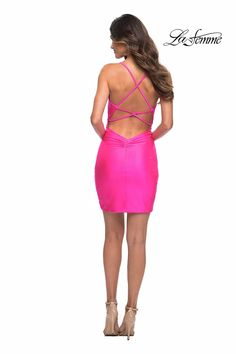 La Femme Fashions Dress 30281 – Terry Costa Long Sleeve Homecoming Dresses, Sherri Hill Homecoming Dresses, Hot Pink Shorts, Senior Prom, Costa, Fashion Dresses, Two Piece Skirt Set, Lace Up, Gowns