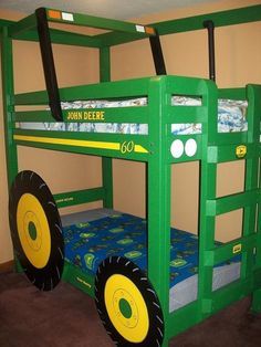 John Deere tractor bed. -If I do this for a little one, it will be ORANGE or RED! No john deere junk in my home :)