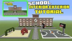 Minecraft Tutorial: How To Make A School Interior/Exterior Minecraft Mods, Minecraft Stores, Minecraft School, Cute Minecraft Houses, Minecraft City, Minecraft Plans, Minecraft House Designs, Minecraft Videos, Minecraft Construction