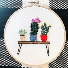 Plant lady vibes. • • • • #embroidery #handembroidery #embroideryhoopart #handmade #modernmaker #hoopart #makersmovement #psimadethis #abmcrafty #makersgonnamake #modernembroidery #fiberart #dmcthreads #embroideryinstaguild #huffpostarts #abmplantlady Modern Embroidery, Embroidery Hoop Art, Embroidery Designs, Fiber Art, Elsa, Stitch, Sewing, Handmade, Crafts