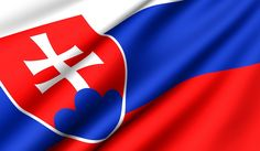 Slovak flag with 3 colors - white, blue and red - and a double cross