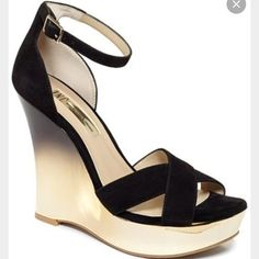 INC wedges INC wedges. Black top with platform gold sides worn 1 time super cute in box Shoes