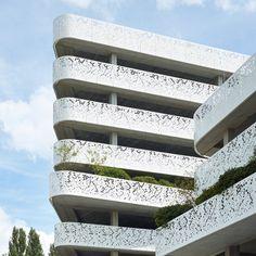 Geometric perforations pattern facade of Belgian hospital car park by Abscis Architecten Architecture Design, Green Architecture, Facade Design, Building Architecture, Car Park Design, Parking Design, Parking Building, Car Parking, Metal Facade