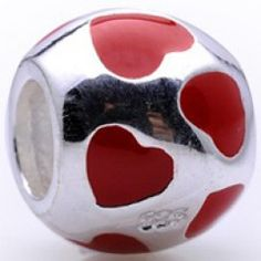 Red Lots of Hearts Bead Charm   Fit pandora,trollbeads,chamilia,biagi,soufeel and any customized bracelet/necklaces. #Jewelry #Fashion #Silver# handcraft #DIY #Accessory