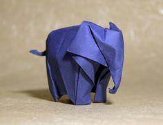 """little elephant by nyanko sensei, via Flickr. Diagram by Li Jun. Folded by nyanko sensei. Lana paper, 160gms.  Size: 20 x 20 cm. (7¾""""x7¾"""")  Wetfold."""