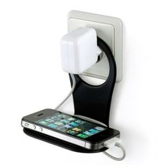 The Bobino mobile phone holder - a home for your phone! This colourful folding phone holder is a handy, easy to use storage solution for your phone. You hang it between your battery charger and the wall socket. It provides safe support for your Phone Charger Holder, Iphone Charger, Cell Phone Holder, Phone Stand, Phone Gadgets, Phone Hacks, Electronics Projects, Electronics Gadgets, Organize Cables