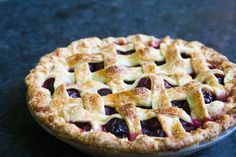 Cherry pie made with fresh, sweet cherries, baked in a buttery crust. Simply Recipes, Great Recipes, Favorite Recipes, Just Desserts, Dessert Recipes, Lattice Pie Crust, Sweet Cherry Pie, Berry Pie, Pie Crust Recipes