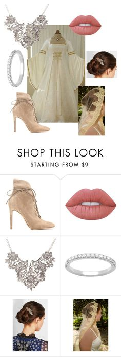 """""""Analise Wedding Day"""" by mistressofthelight ❤ liked on Polyvore featuring Gianvito Rossi, Lime Crime, Marc Jacobs, wedding, Merlin and medieval"""