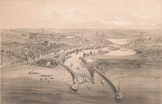 1830/1865 - Boulogne-sur-Mer Vue prise à vol d'oiseau | Dessiné par A. Guesdon.