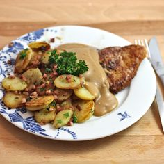 Homemade Schnitzel with Brown sauce and Bratkartoffeln (Home Fries) [#Recipe] A taste of #German Cuisine at home!