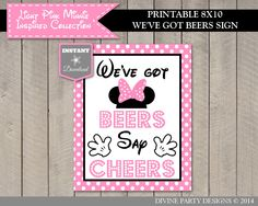 INSTANT DOWNLOAD Light Pink Minnie Inspired 8x10 We've Got Bees, Say Cheers / Printable DIY / Light Pink Minnie Collection / Item #618 by DivinePartyDesign on Etsy