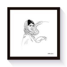 Malala Yousafzai - Illustration Svart/vit (30x30 cm)