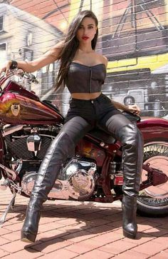 In leather biker bitches Sexy