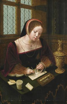 .:. A Lady Writing at a Desk. The Master of the Female Half-lengths (active in Antwerp during the first half of the 16th century). Oil on panel.The engaging subject is entirely typical of this unknown master, who seems to have specialised in small-scale panels in a courtly style depicting elegant women reading, writing or making music in intimate interiors.The presence of the gilt cup and cover led Friedländer and others to suggest that the young ladies represented the Magdalene.