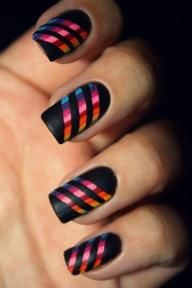 apply base coat allow to dry then cut 3 strips of tape place where you want your lines. then color the whole nails. allow to dry before removing tape