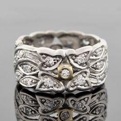 Art Deco Platinum & Diamond Wide Band Ring