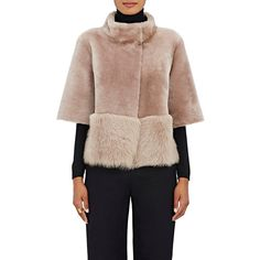 Barneys New York Women's Lamb Shearling Coat ($1,975) ❤ liked on Polyvore featuring outerwear, coats, pink, barneys new york, sheep fur coat, stand collar coat, pink coat and reversible coats
