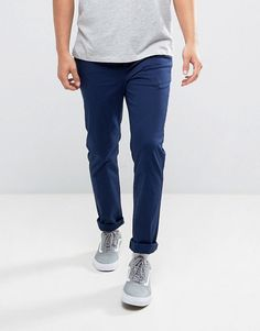 ASOS Slim Chinos In Dark Navy - Blue
