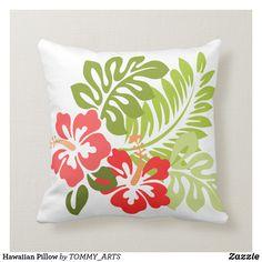 Shop Hawaiian Pillow created by TOMMY_ARTS. Hawaiian Decor, Hawaiian Art, Hawaiian Quilts, Bed Cover Design, Cushion Cover Designs, Pillow Design, Fabric Paint Designs, Stencil Designs, Custom Pillows