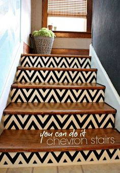 s 13 ways you never thought of using painter s tape in your home, home decor, painting, Get awesome looking chevron stairs