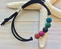 Rainbow Stone Bracelet - Lava Stone Bracelet - Essential Oil Jewelry - Leather Stone Bracelet - Oil Diffuser Bracelet - Aromatherapy Jewelry