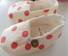 Baby Shoes Polka Dots Cream Orange Red Slippers by BusterBooKids, $28.00