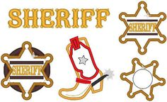Sheriff Set, Boot and Star Badge- machine embroide