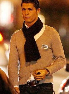 I usually see him with a scarf.