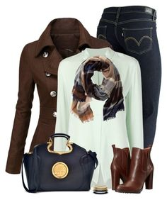 Brown and Navy by daiscat on Polyvore featuring polyvore, fashion, style, Halston Heritage, Doublju, Levi's, BCBGeneration, Dasein, Dorothy Perkins, TravelSmith and clothing
