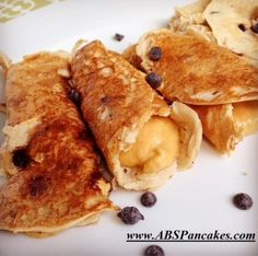 Did you know that ABS Protein Pancake Mix can make crepes too!? Check out this amazing #FallRecipe that is totally healthy AND delicious! ------- Take 1/2 scoop ABS Protein Pancakes in Chocolate Chip and mix with 1 egg white, 1T coconut flour, and enough almond milk to thin the batter out like a crepe. Once fully cooked, stuff crepes with pure pumpkin mixed with peanut flour and Greek yogurt! ----------- Click the image to order your ABS Pancake Mix today!