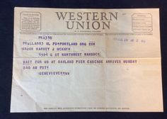 Vtg 1951 Western Union Telegram Portland Oregon Oakland Pier Cascade Military    eBay