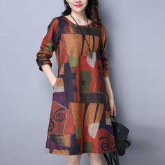 bbcbd05b1653 Midi šaty vo vintage štýle s vreckami a geometrickou potlačou v tvare A